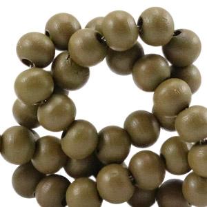 Houten kraal 8 mm rond dark olive green groen
