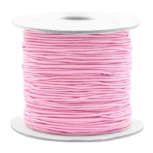 Koord elastiek 0,8 mm. roze, per meter - elastisch koord