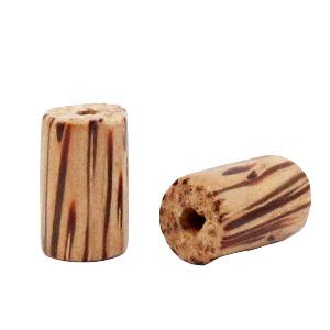 Houten kraal 15mm. cilinder palmhout