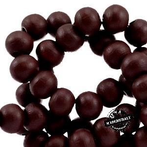 Houten kraal 8 mm. Chocolate bruin
