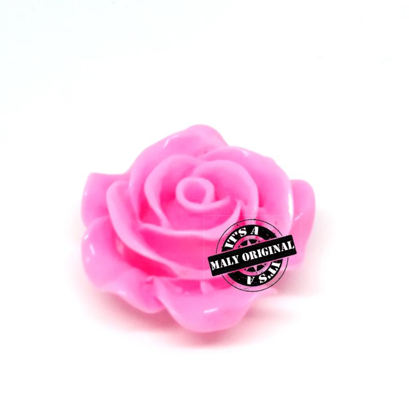Roos bloem kraal 28 mm roze
