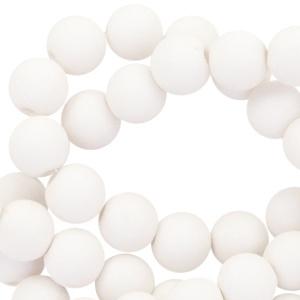 Mat acryl kralen rond 8 mm wit, 30 stuks