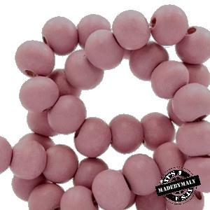 Houten kraal 8 mm rond pink vintage roze
