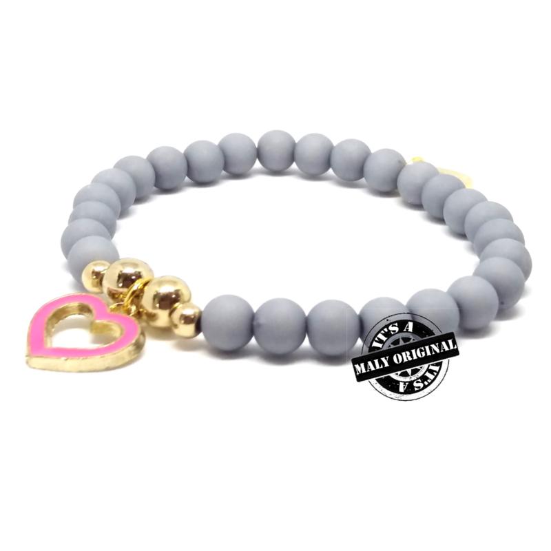 armband met donkerroze hartjes bedel (kies zelf je kleur)