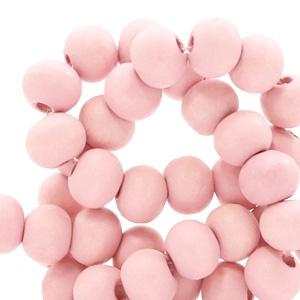 Houten kraal 6 mm rond Parfait Pink roze