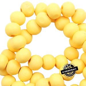 Houten kraal 6 mm rond sunshine yellow geel