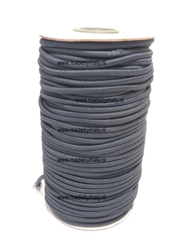 Koord elastiek 3 mm. donkergrijs, per meter - elastisch koord