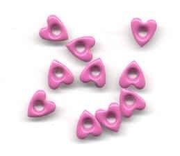 10 hartjes eyelets roze