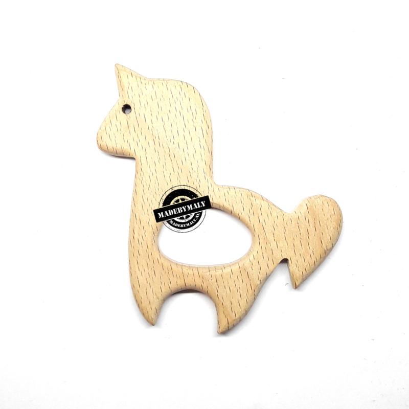 Houten bijtring hout  eenhoorn  beukenhout * 8x8,1 cm.
