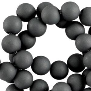 Mat acryl kralen rond 8 mm donker grey, 30 stuks