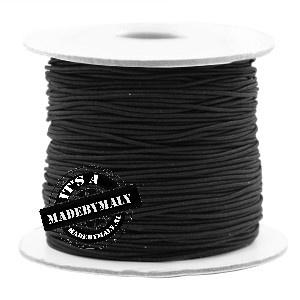 Koord elastiek 0,8 mm. zwart, per meter - elastisch koord