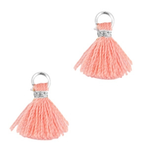Ibiza style mini kwastje Zilver-rose peach