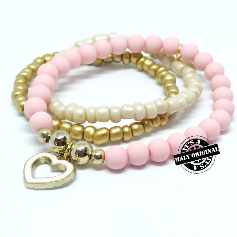 armband set met lichtroze hartjes bedel (kies zelf je kleur)