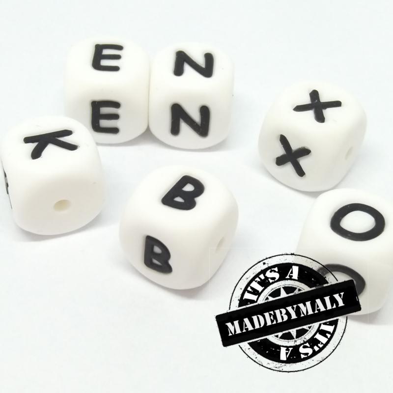 Siliconen alfabetkralen 12x12mm letterkralen, ster, hart