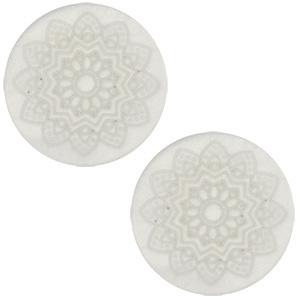 Cabochon Polaris 12mm met mandala print, beige