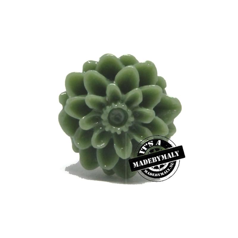 Dahlia bloem kraal 13mm legergroen (army)