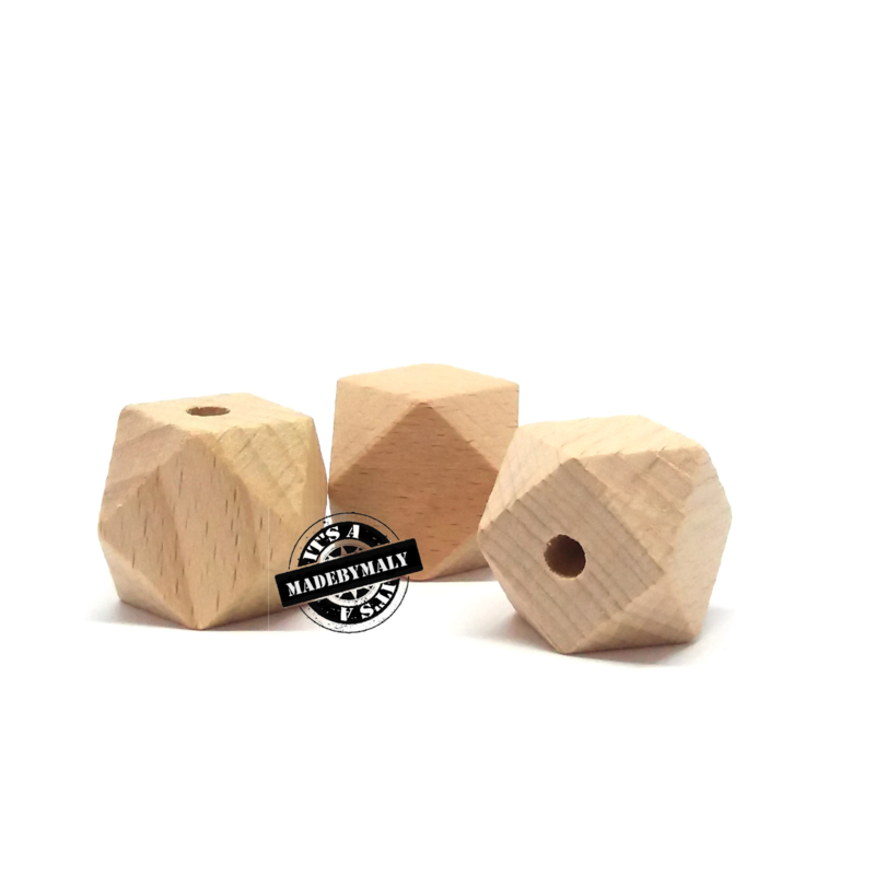 Beuken houten hexagon facet kraal 14 mm. groot, blank, per stuk