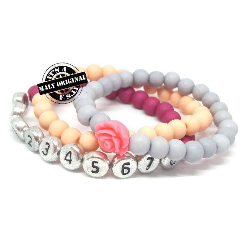 Prachtige sos armband, bloem armband  en uni armbandenset meisje. (3 armbanden)  Kies zelf je kleuren