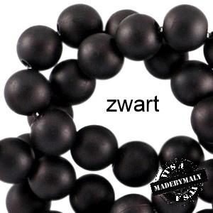 Mat acryl kralen rond 8 mm zwart, 30 stuks