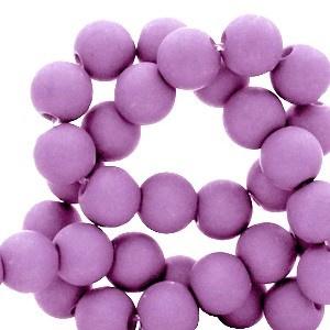 Mat acryl kralen rond 6mm roze lila, 40 stuks