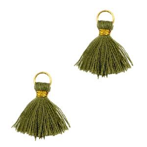 Ibiza style mini kwastje Goud-army green