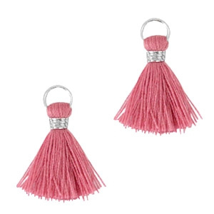 Ibiza style kwastje 2cm Zilver-Deep cerise pink