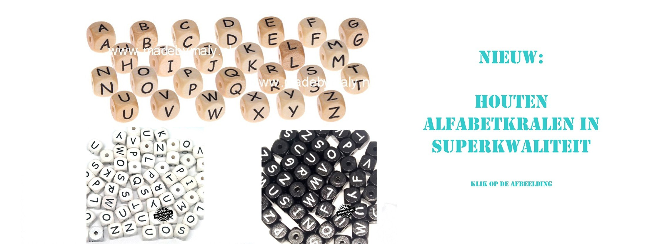 Houten alfabetkralen in diverse kleuren
