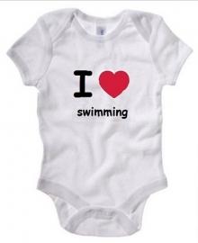 Rompertje I love swimming - wit