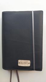 Luxe antraciet  vegan leather  bijbelhoes  voor HSV schoolbijbel en BGT