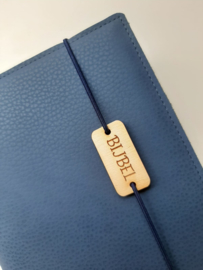 Luxe midden blauw vegan leather  bijbelhoes