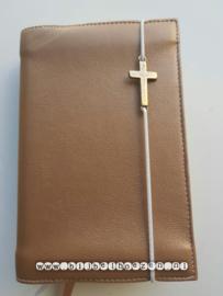 Bijbelhoes van brons kunstleer met of zonder kruis