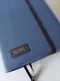Midden blauw vegan leather  bijbelhoes voor mannenbijbel (of vrouwenbijbel)