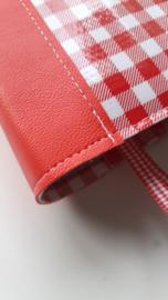 Bijbelhoes mini ruit rood met kunstleren rug