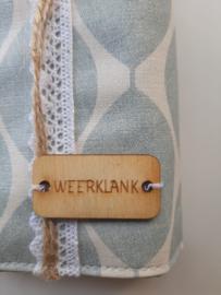Houten label met woord WEERKLANK  (groot)