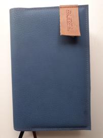 Luxe blauw/grijs vegan leather  bijbelhoes  voor Bijbel in gewone taal