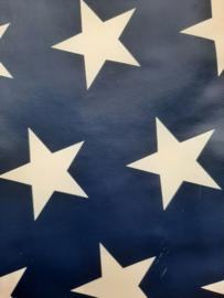 Bijbelhoes tafelzeil blauw met witte sterren