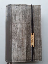 Bijbelhoes steigerhout en rug van taupe