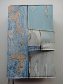 Bijbelhoes steigerhout ocean blue rug voor NBV (oranje)