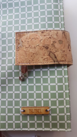 Oud groen wafel bijbelhoes (incl. sluiting van kurk)