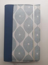 Bijbelhoes retro blauw met blauw grijs vegan leather rug voor NBV (oranje)