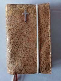 Kurk Bijbelhoes voor Calvijnbijbel (met elastiek en zilveren kruis)