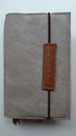 Luxe grijs/taupe vegan leather bijbelhoes