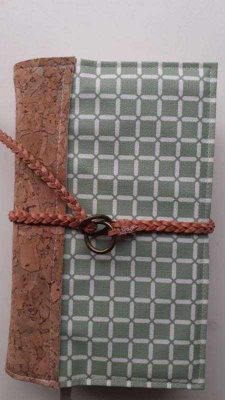 Oud groen wafel bijbelhoes (incl. rug van kurk en gevlochten veter ) bijbelhoes voor Jong/Viv