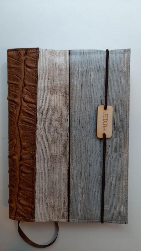 Steigerhout bijbelhoes  (incl. rug van bruin Caiman Sable )