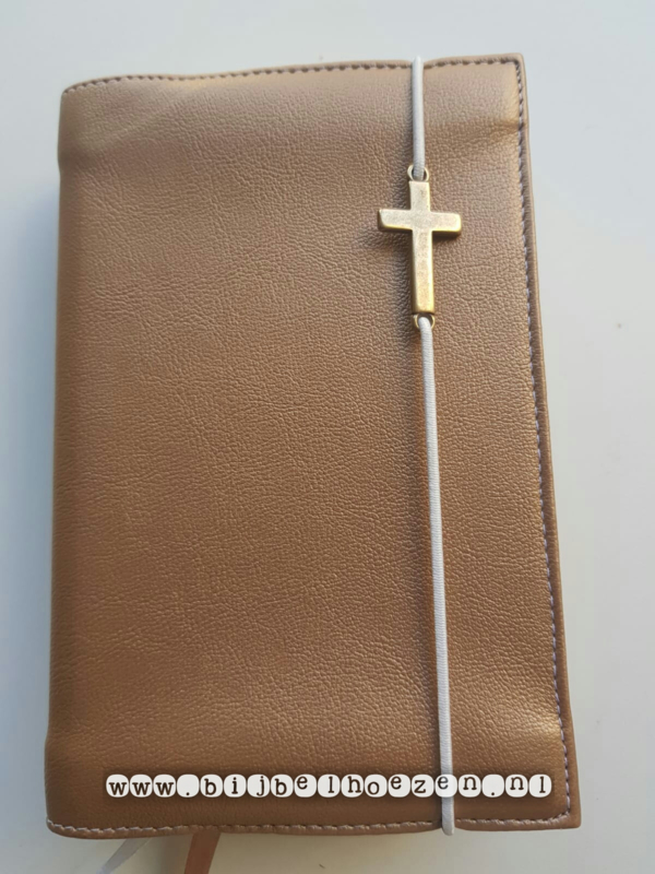 Bijbelhoes van brons kunstleer met  kruis voor HSV jongerenbijbel