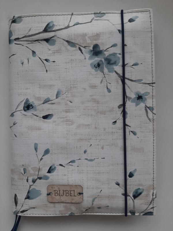Bijbelhoes bloemen turquesa