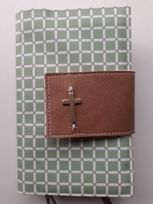 Oud groen wafel bijbelhoes (incl. sluiting van cognac kunstleer)