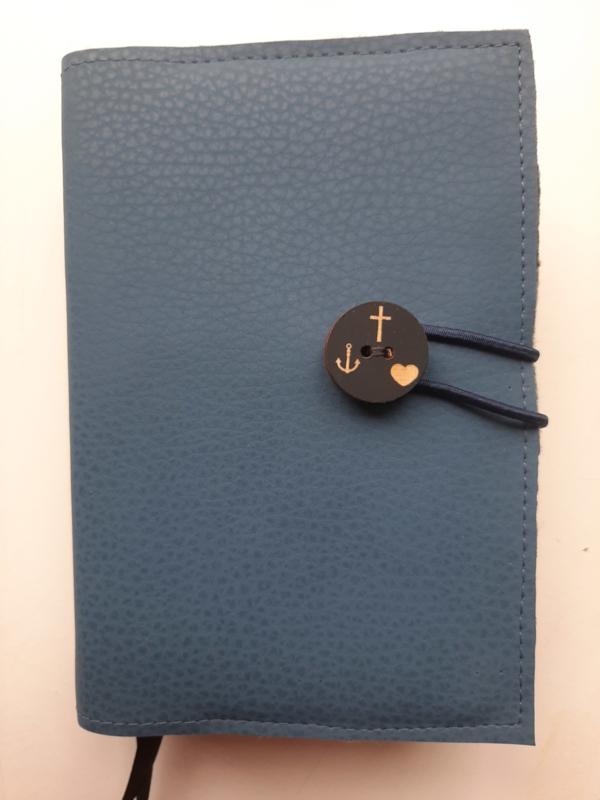Bijbelhoes van blauw/grijs vegan leather voor HSV met psalmen (2017)