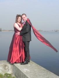 rode bruidsjurk van Carla