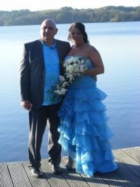 blauwe bruidsjurk van Trudy